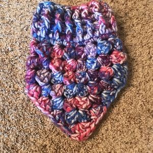 Crochet pink white blue and purple cowl